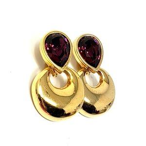 Swarovski Crystal Purple Clip On Earrings
